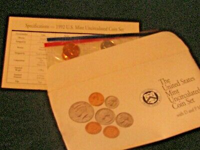 1992 P and D Annual US Mint Uncirculated 10 Coin Set + 2 (P&D) Mint Tokens