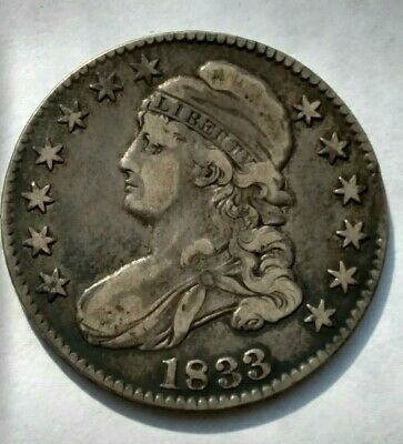 1833  Silver Capped Bust Half Dollar VF Cond Coin