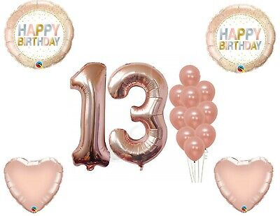 Rose Gold 13th Birthday Party Balloons Decoration Supplies Dots Thirteen