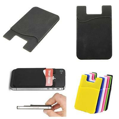 Silicone Mobile Phone Wallet Credit Card Cash Stick Adhesive Holder Case  HF