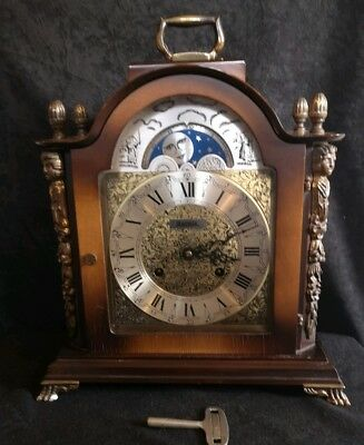 Antique Style Vintage Hermle Mahogany Moon Phase Chiming Bracket ~ table clock