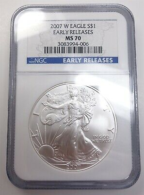 2007 W American Silver Eagle NGC MS70 ASE $1 .999 1oz US Coin Early Releases