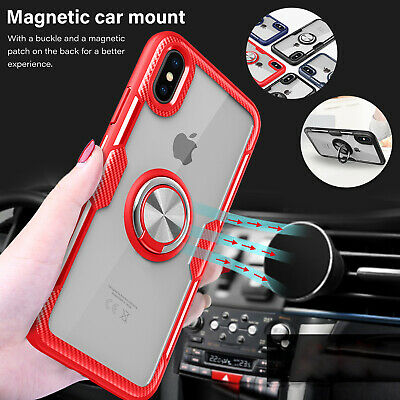 For iPhone 8 Plus 7 Case Hybrid TPU Frame Magnetic Car Holder Stand Bumper Cover