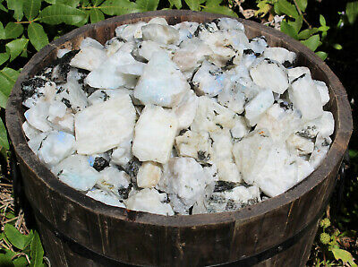 1/2 lb Bulk Lot Natural Rough Rainbow Moonstone Crystals (Raw Reiki Rocks 8 oz)