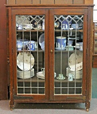 Antique MISSION Style Oak BOOKCASE CABINET w/ LEADED BEVELED GLASS Doors