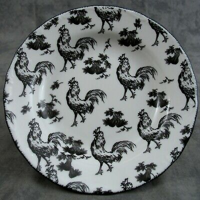 """BLACK & WHITE FRENCH COUNTRY TOILE ROOSTER 8"""" BOWL Aux Au Provence Transferware"""