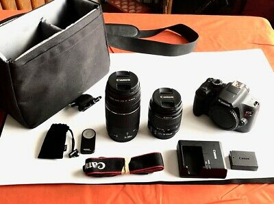 Canon Rebel t6 bundle w/ 18-55 & 75-300 lenses, case, battery, charger, remote