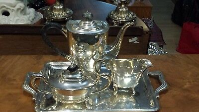 1540g sterling silver UPPER CLASS 4 PIECES COFFEE set, plain style.
