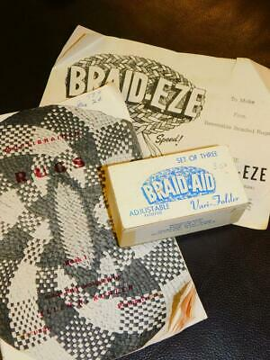 Vintage BRAIDED RUG TOOL LOT 3 BRAID AID Braiders Vari-Folder & Instruction Book