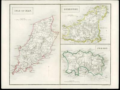 1847  Antique Map ISLE OF MAN GUERNSEY JERSEY Coach Rail Roads by Chapman & Hall