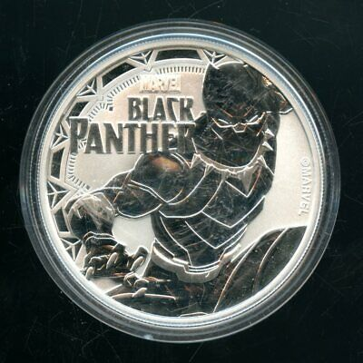 2018 Rev. Proof Black Panther Tuvalu 1 Dollar 1 Oz 9999 Fine Silver Round Qt180