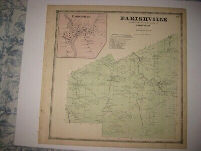 Antique 1865 Parishville Cookham Catharineville Lawrence County New York Map Nr