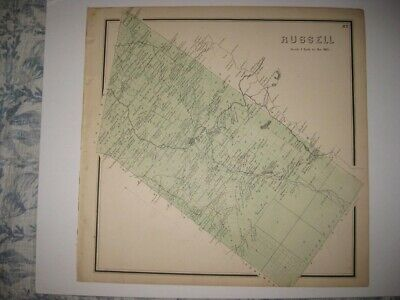 Vintage Antique 1865 Russell St Lawrence County New York Handcolored Map Fine Nr