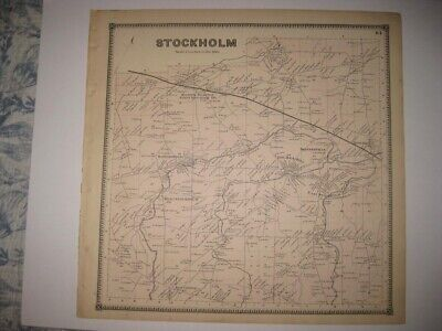 Vintage Antique 1865 Stockholm St Lawrence County New York Handcolored Map Rare