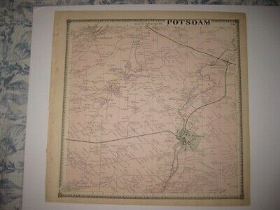 Vintage Antique 1865 Potsdam Lawrence County New York Handcolored Map Superb Nr