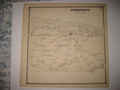 Vintage Antique 1865 Waddington St Lawrence County New York Handcolored Map Fine