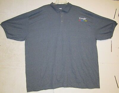 Gildan Dry Blend Mens Grey Casual Button Up Polo Shirt W/ Google Logo 5XL