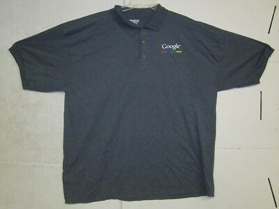 Gildan Dry Blend Mens Grey Casual Button Up Polo Shirt W/ Google Logo 3XL
