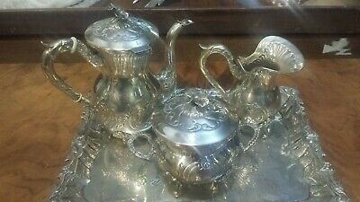 520g sterling silver UPPER CLASS 4 PIECES MINI VIRTU COFFEE set FLOWER style.