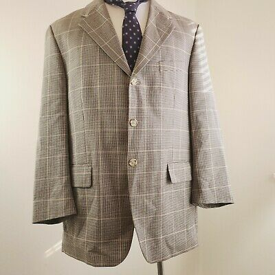 Chaps Ralph Lauren Plaid Blazer - Wool Plaid Brown Beige Tan Suit Jacket 42R