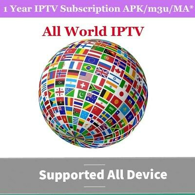 iptv Subscription 1Year Smart tv Mag Android m3u world iptv USA Europe Latino AR