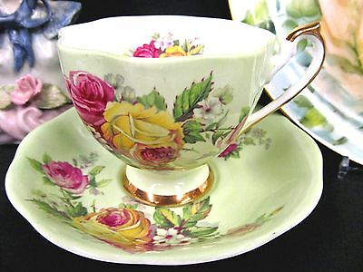 Queen Anne tea cup and saucer pastel green & roses pattern teacup flared