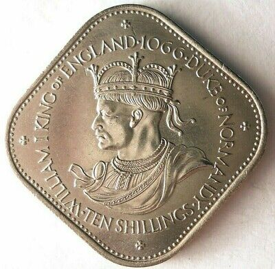 1966 GUERNSEY 10 SHILLING - William The Conqueror - RARE Coin - Lot #15F
