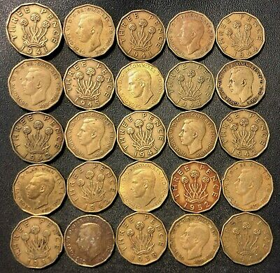 Vintage Great Britain Coin Lot - 3 PENCE - 1937-1952 - 25 Coins - Lot #15F