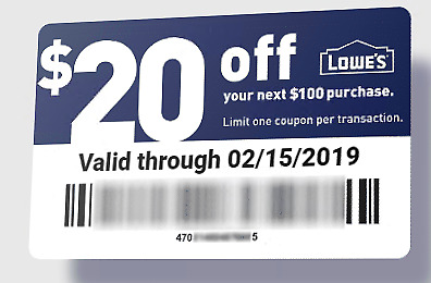 5X Lowe's $20 Off $100 Coupons Fast Fast Fast Delivery!