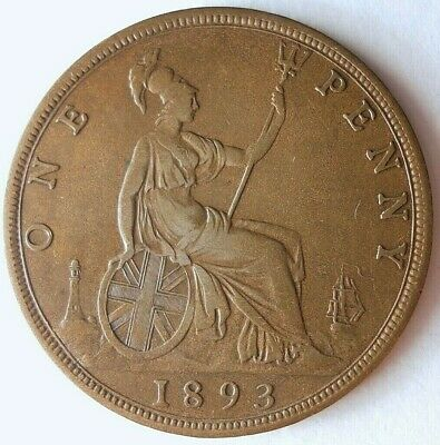 1893 GREAT BRITAIN PENNY - RARE High Quality Coin - Lot #15F