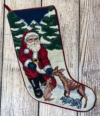 COMPLETED WOOL Needlepoint Christmas STOCKING SANTA w/ Deer, Bunny, Animals 20""