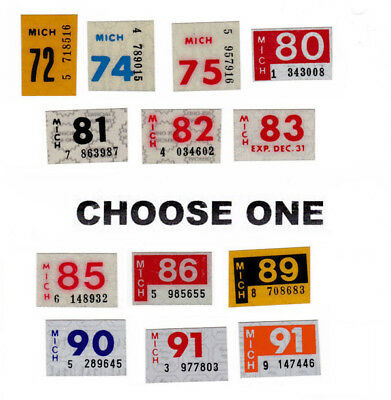 CHOICE OUT Michigan 1972 - 1991  license plate DATE STICKERS (GIBBY NOS)