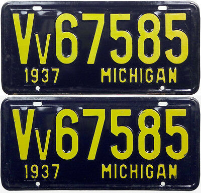 1937 Michigan VETERAN license plate PAIR (GIBBY NOS)
