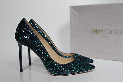 f8ec06fb9b64 New sz 8.5   38.5 Jimmy Choo Romy Blue Glitter Shimmer Pointed Toe Pump  Shoes