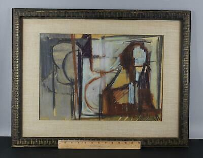 1966 Original ROBERT J WOLF American Abstract Modern Pastel Drawing NR