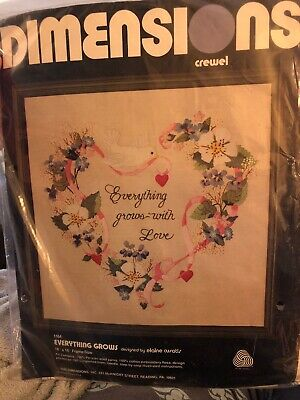 Dimensions Crewel Kit 1164  Everything grows with love wool yarn & linen Sealed