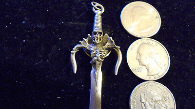 bling pewter celtic myth druid goth skull sword pendant charm necklace jewelry