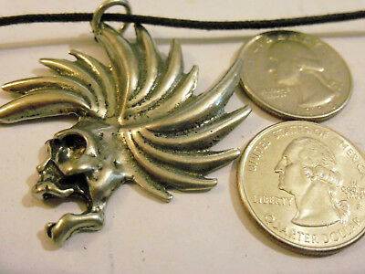 bling pewter BIKER skull myth celtic GOTH FASHION pendant charm necklace jewelry