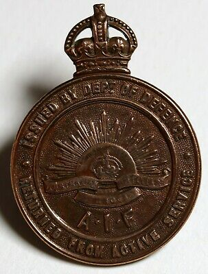 Australia WWI ANZAC WWI Returned from Active Service Badge AIF Numbered 14534