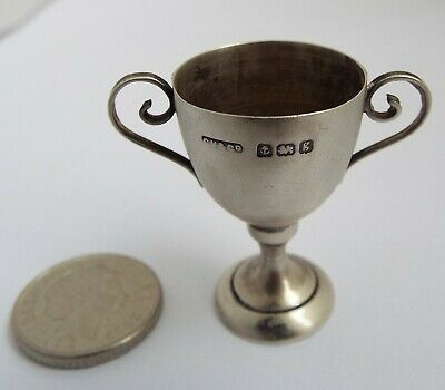 Lovely Rare English Antique 1906 Miniature Solid Sterling Silver Trophy Cup