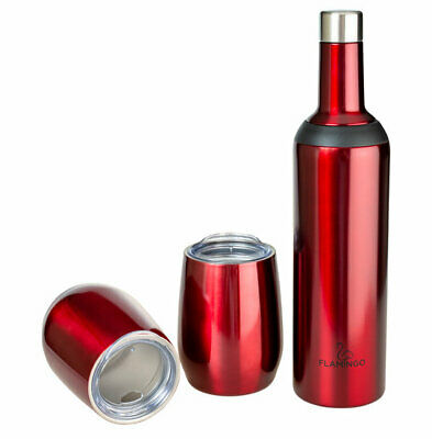 Insulated Wine Bottle  2 Wine Tumblers + lids GIFT SET Insulated Stainless Steel