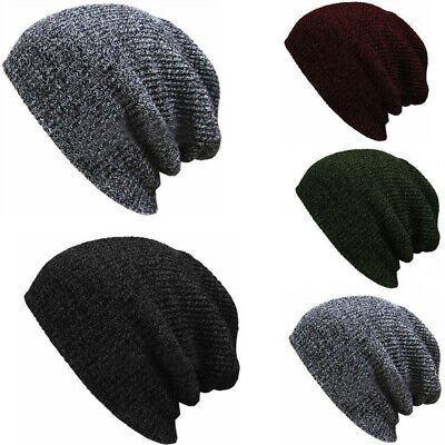 Men Women Unisex Knit Baggy Beanie Winter Warm Hat Ski Slouchy Chic Knit Caps