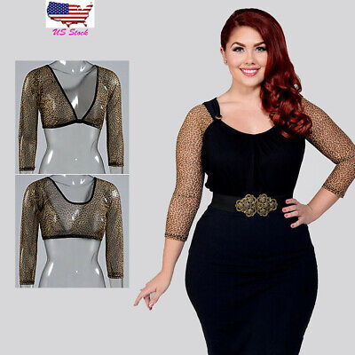 Women Plus Sheer Seamless Arm Shaper Leopard Long Crop Top Mesh Cardigan Shirt
