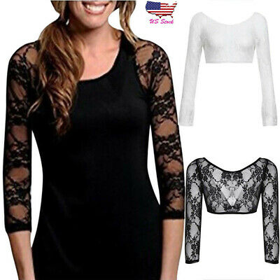 Women Plus Seamless Arm Shaper Sheer Lace Long Sleeve Top Crop Dress Cardigan US