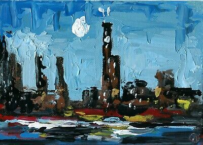 285. Chicago Skyline Cityscape Original Oil Painting Impasto Art