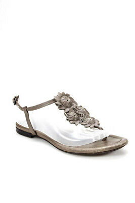 f3d94b69f56748 Bottega Veneta Womens Sandals Size 38 8 Brown Gray Leather Floral Ankle  Buckle