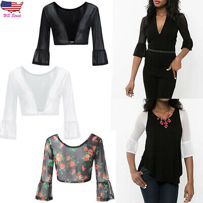 Women Sheer Plus Seamless Arm Shaper Flare Sleeve Top Crop Mesh Shirt Casual Tee
