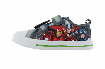 Boys Avengers Grey Canvas Low Top Trainers Sports Shoe Hook & Loop Various Sizes