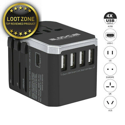Travel AC Power Plug Adapter - International Safety Fused - w/4 USB Ports +...
