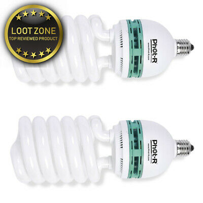 Phot-R 2x 425W (85W) 220V 5500K E27 Socket CFL Spiral Continuous Daylight...